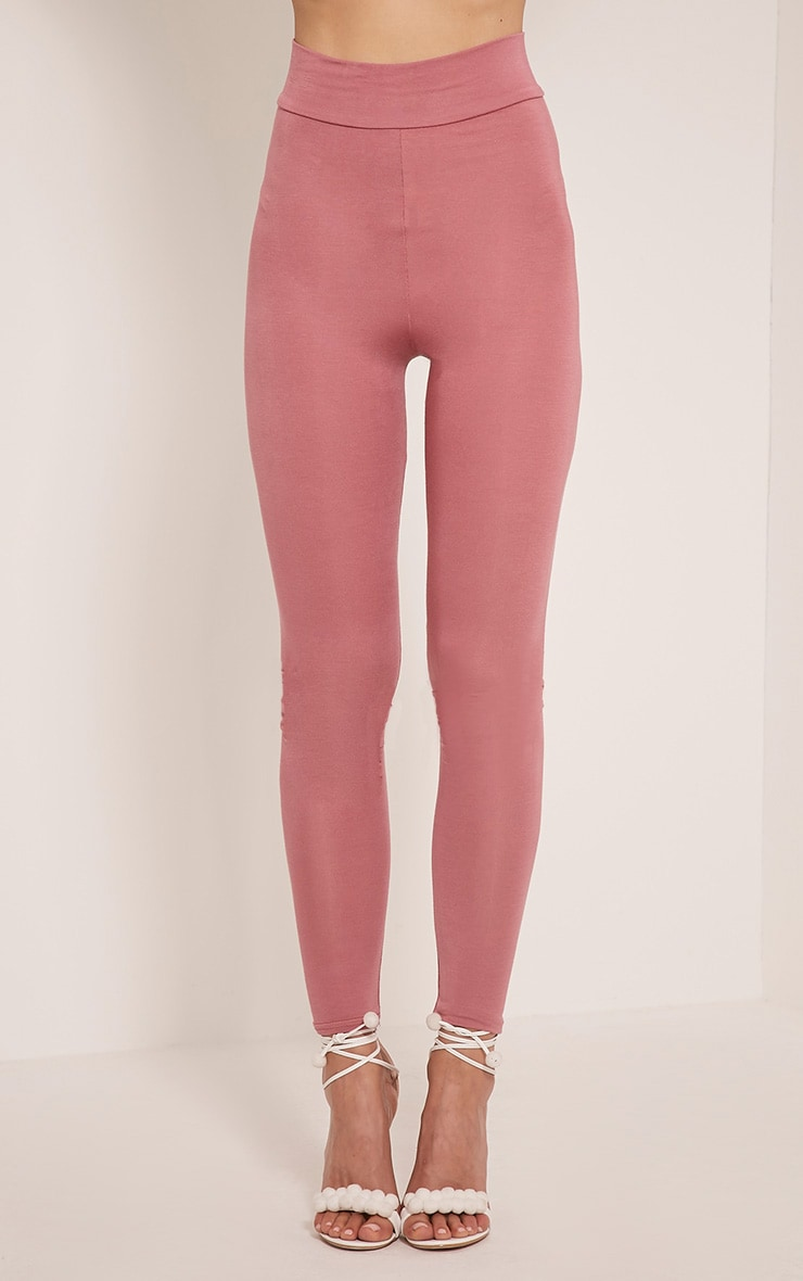 Basic Rose High Waisted Jersey Leggings 2