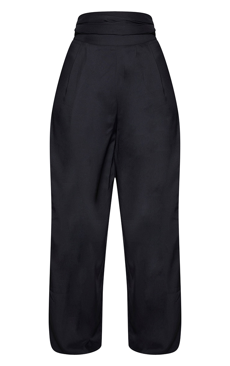 Black Woven Pleated Front Wide Leg Pants 5