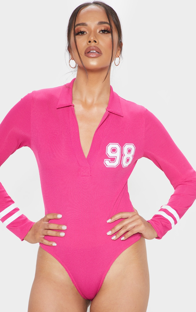 Hot Pink 98 Slogan Rib Collar Long Sleeve Bodysuit 2
