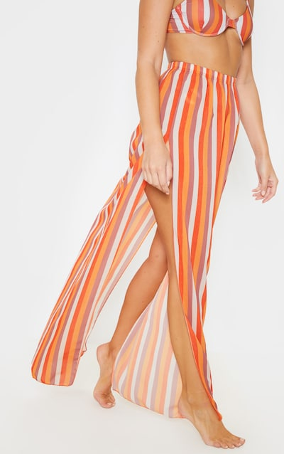 Orange Stripe Chiffon Split Side Maxi Skirt