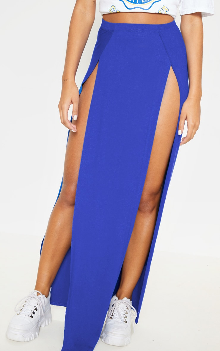Cobalt Double Split Maxi Skirt 2