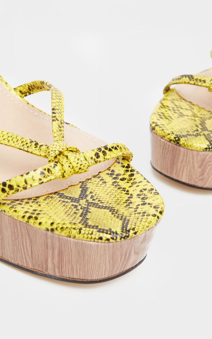 Yellow Snake Wood Platform Lace Up Sandal  4
