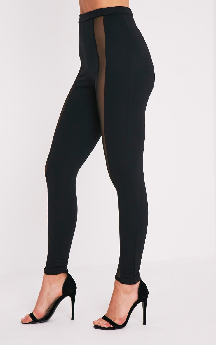 Rach Black Mesh Front Leggings 4