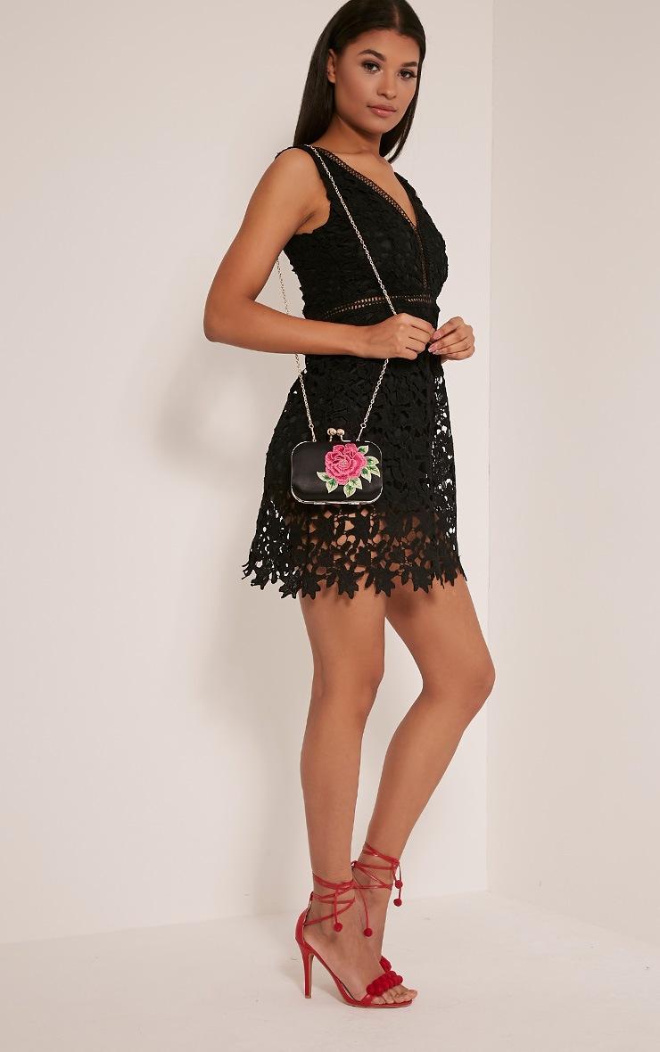 Angela Black Rose Embroidered Clutch Bag 6