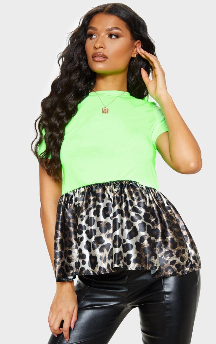 Lime Leopard Print Contrast Frill Hem T shirt  1