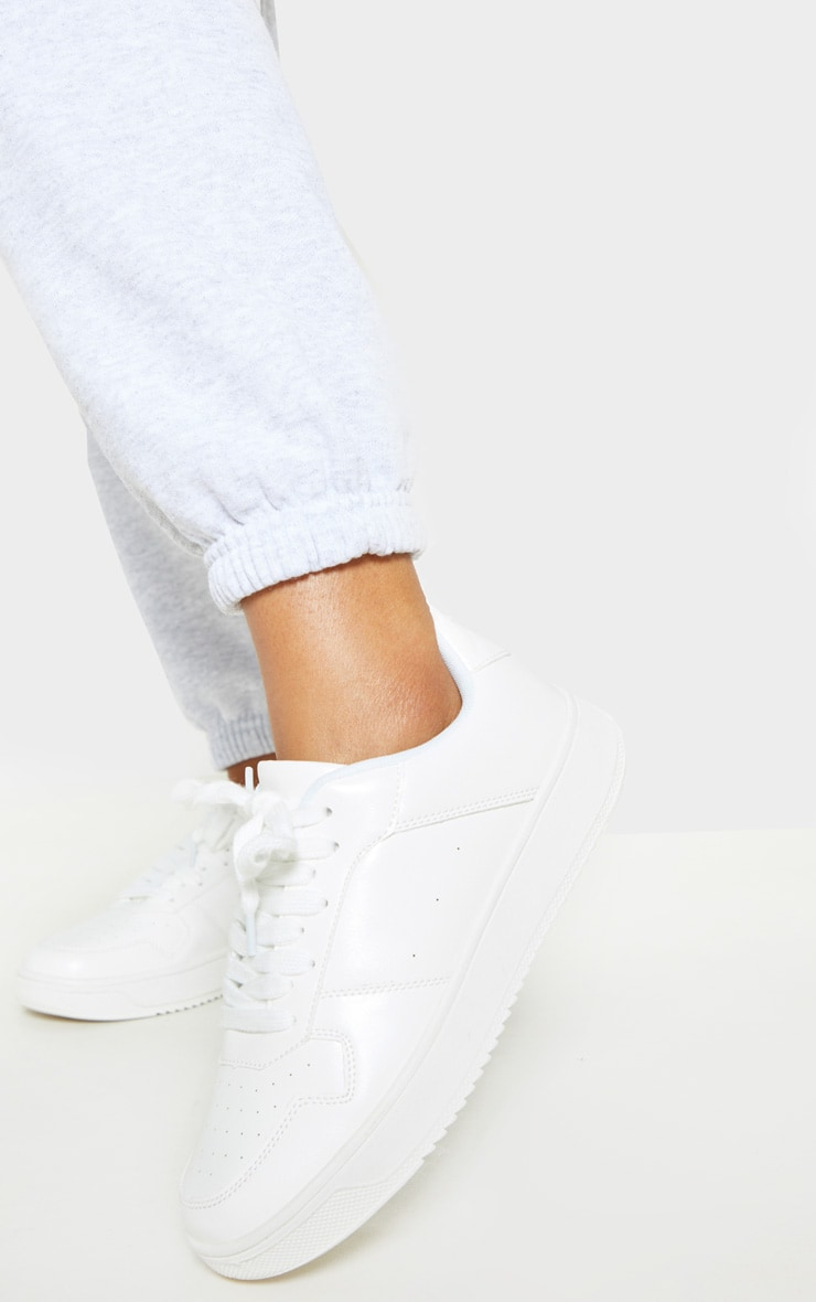 White Lace Up Flatform Sneakers 2