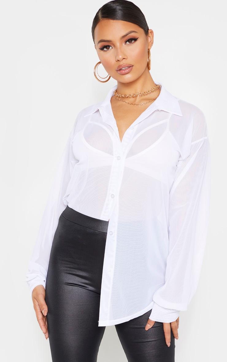 Petite White Mesh Oversized Shirt 1