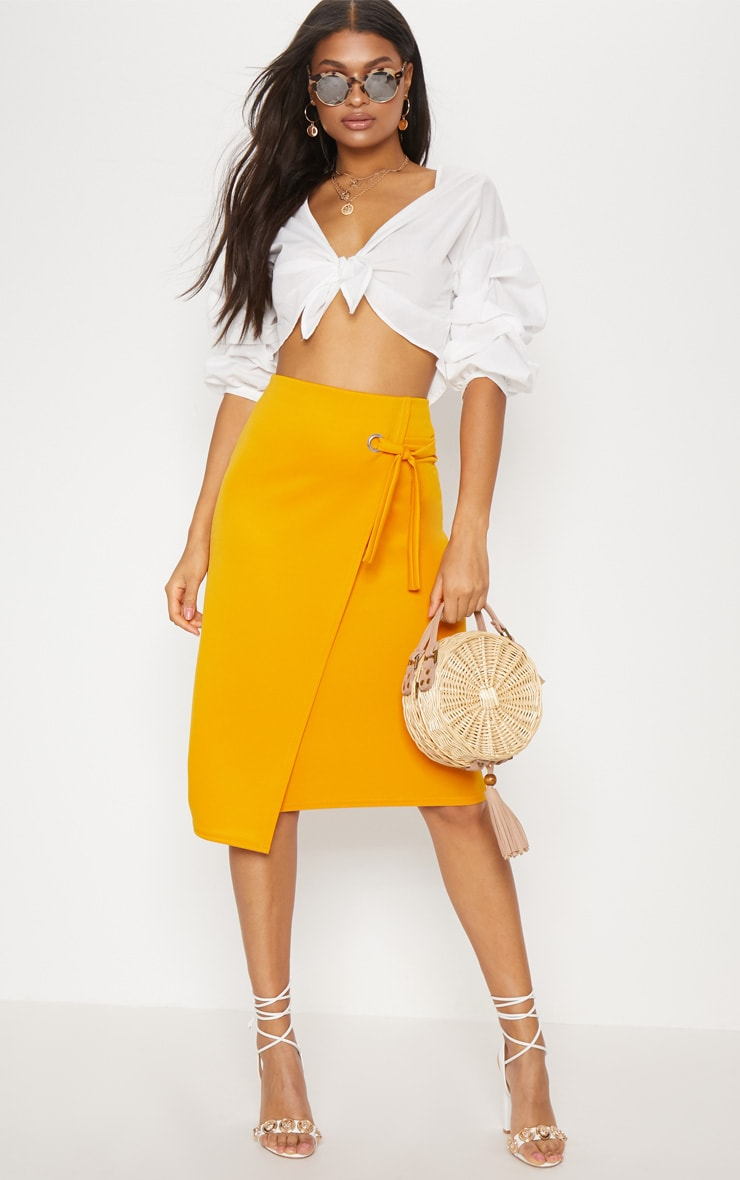 Orange Eyelet Detail Wrap Pencil Skirt