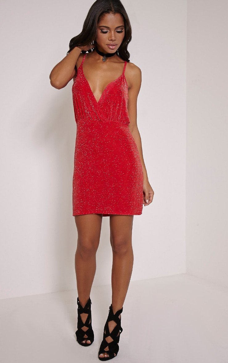 Tayah Red Wrap Front Glitter Bodycon Dress 4