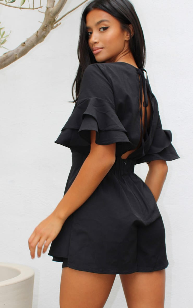 Petite Black Frill Sleeve Tie Back Romper 2
