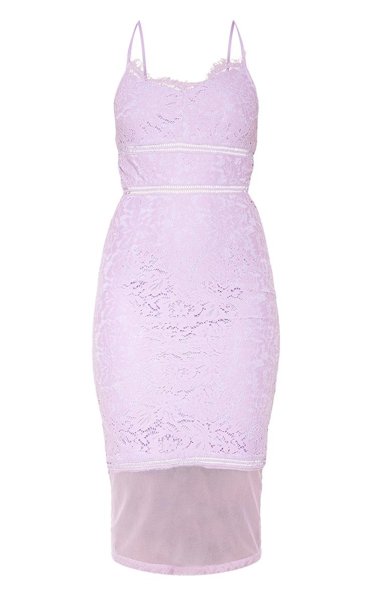 Lilac Lace Cross Back Strappy Midi Dress 3