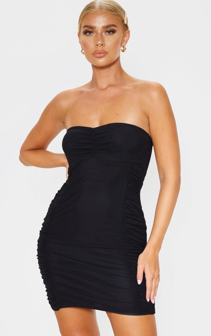 Black Mesh Bandeau Ruched Detail Bodycon Dress 1