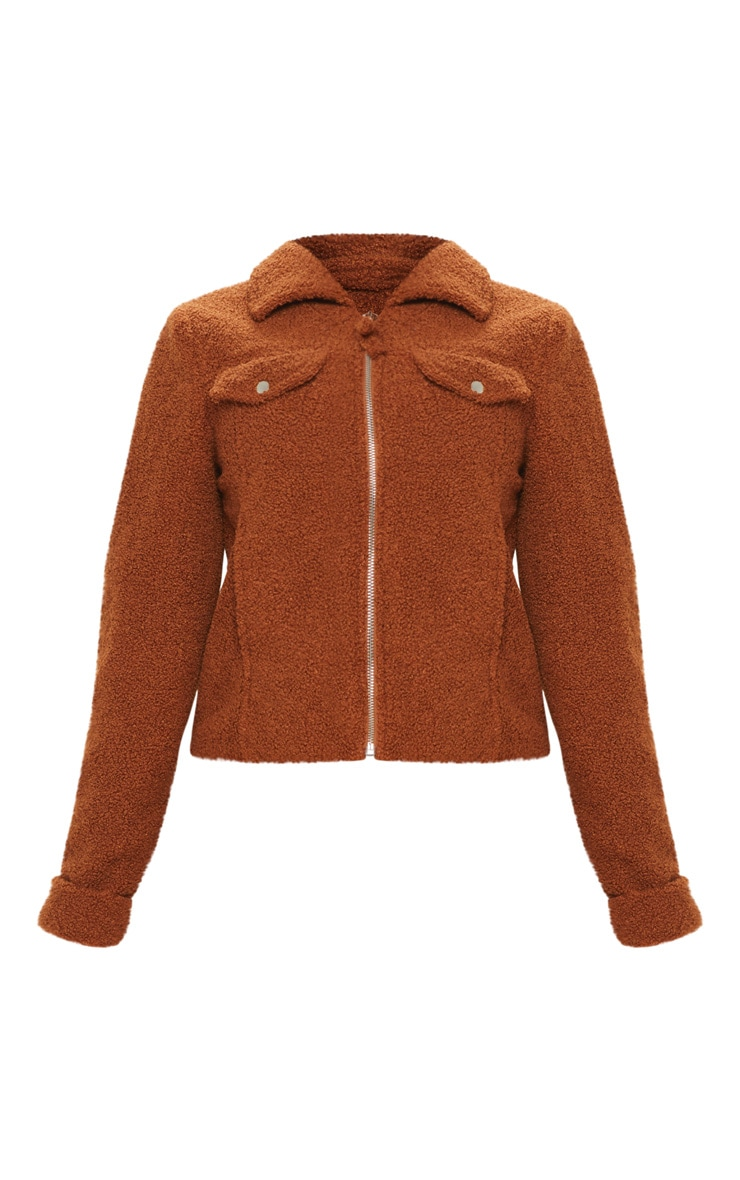 Petite Brown Teddy Fleece Pocket Detail Jacket 3