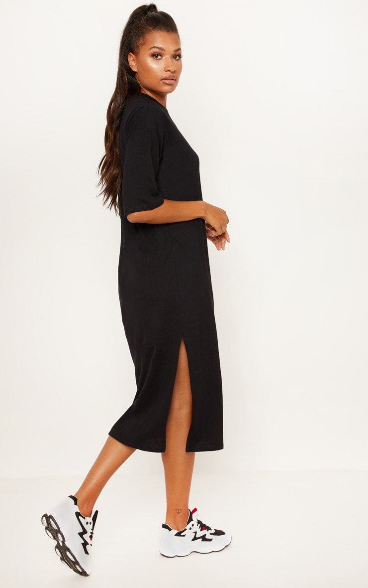 Black Oversized Midi T Shirt Dress 2