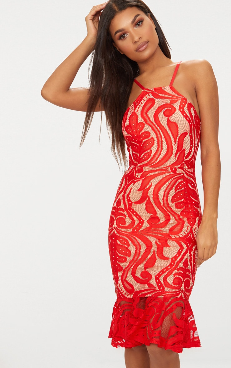 Red Lace Frill Hem Midi Dress  1