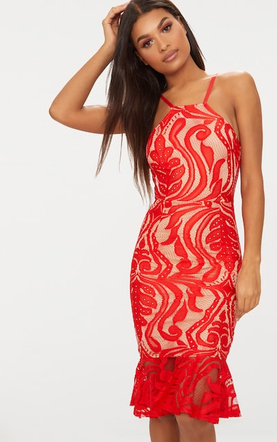 2acd9639511c Red Lace Frill Hem Midi Dress