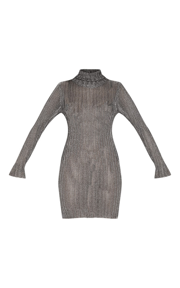 Pewter Roll Neck Metallic Knitted Dress 3