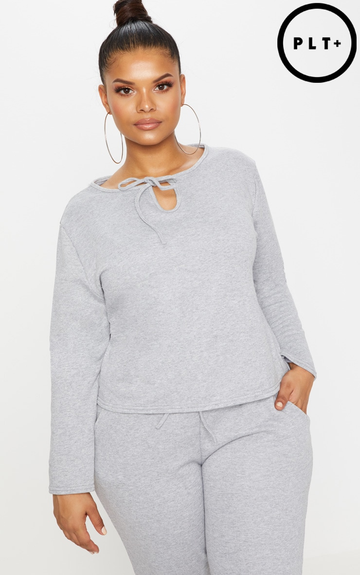 Plus Grey Marl Tie Detail Sweater 1