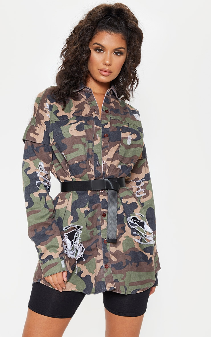 Camo Oversized Distressed Denim Shirt 4