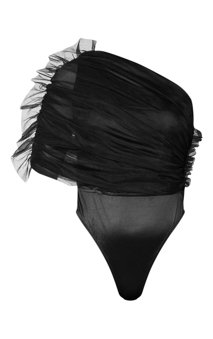 Black Sheer Ruffle One Shoulder Bodysuit 5