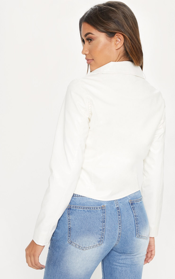 White PU Biker Jacket 2