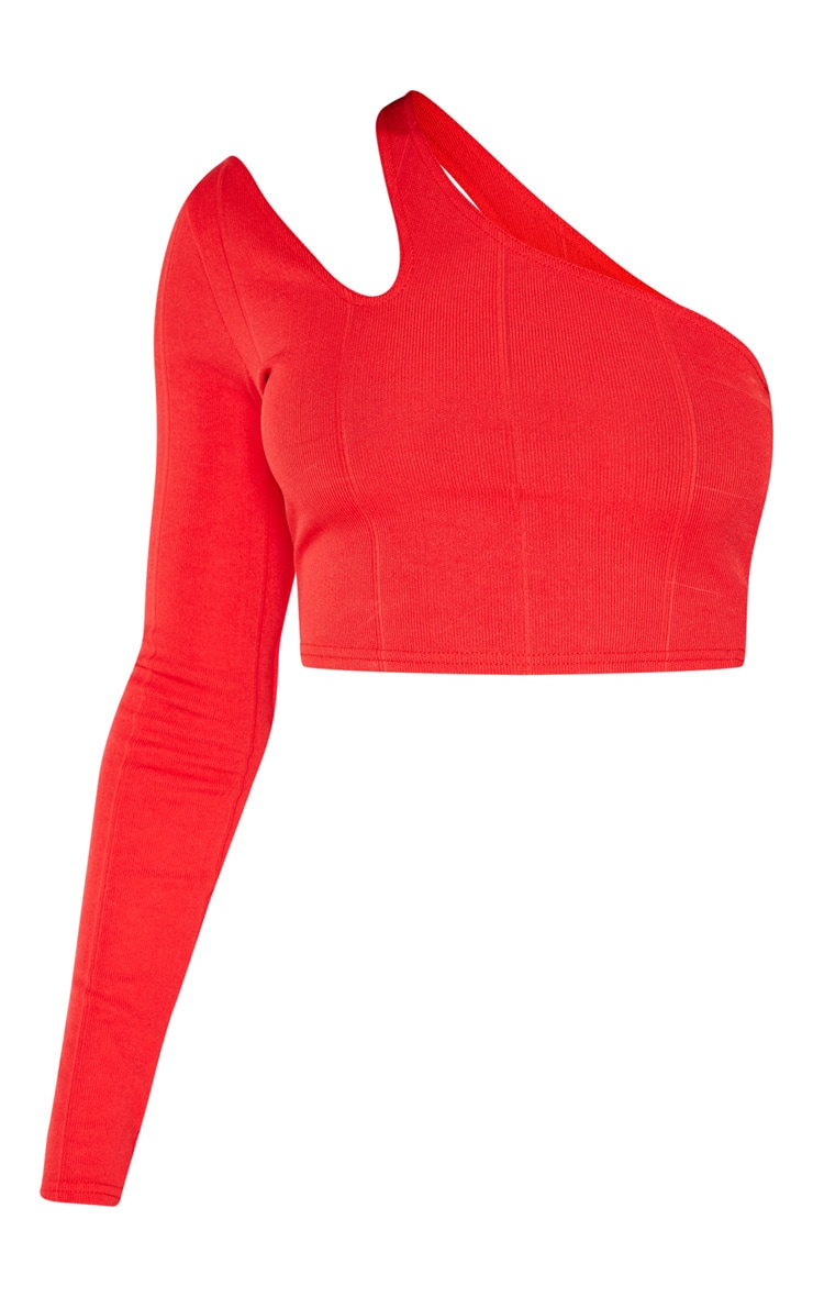 Red One Shoulder Cut Out Bandage Crop Top 3