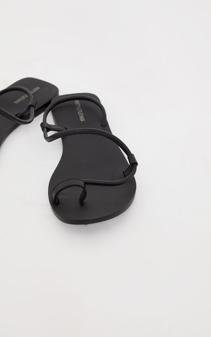 Black Real Leather Rope Strap Sandals 4