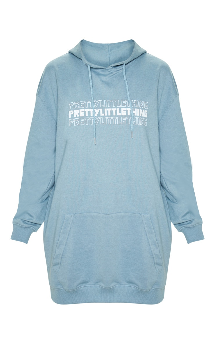Lead grey PRETTYLITTLETHING Slogan Oversized Hoodie Dress 3