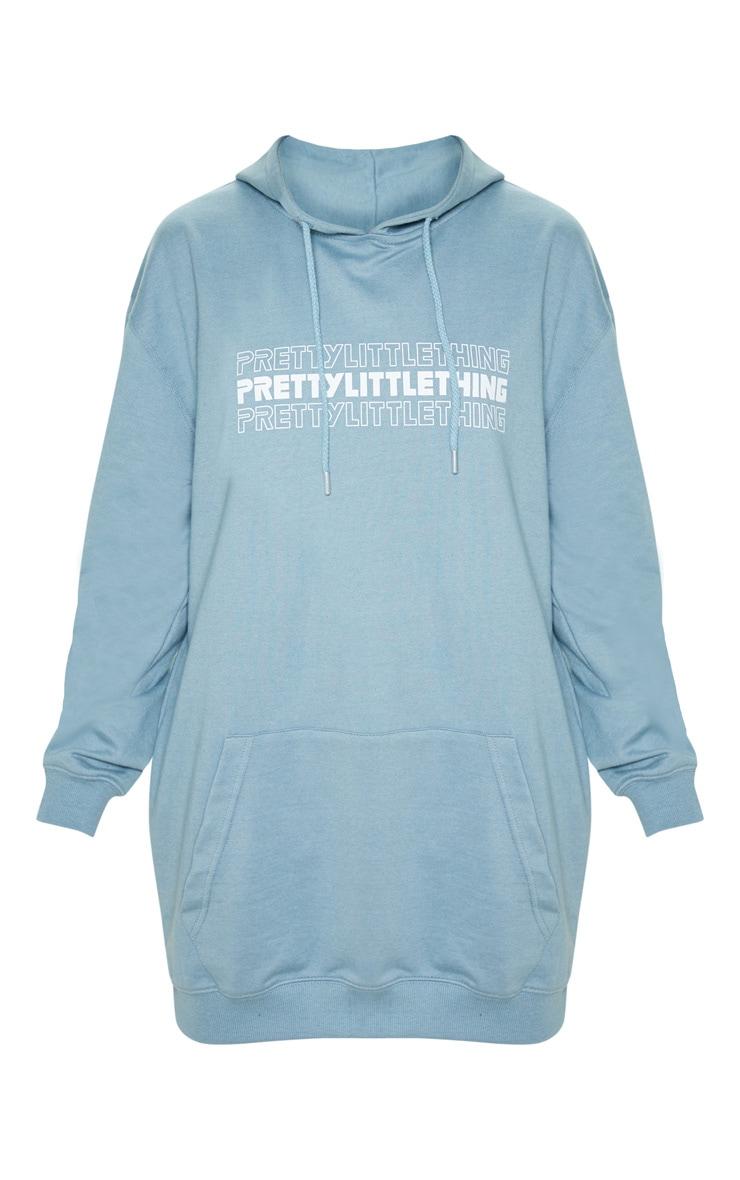 Lead grey PRETTYLITTLETHING Slogan Oversized Hoodie Dress 3