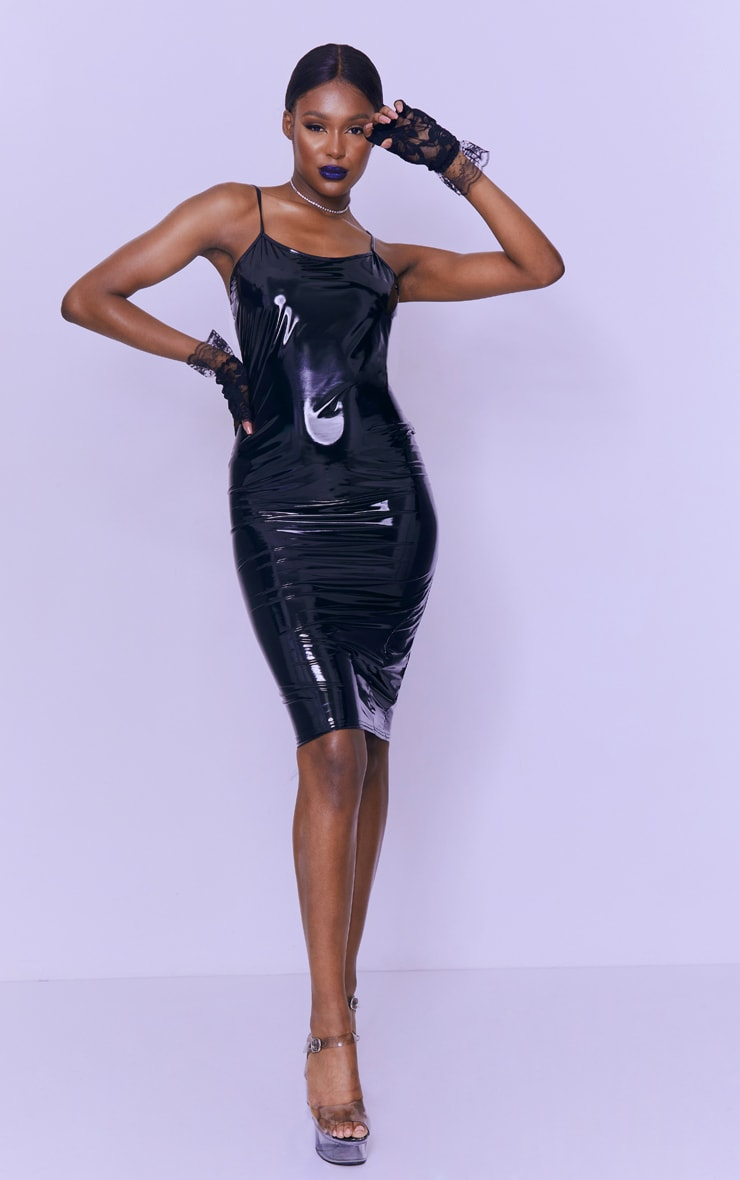 Tall Black Strappy Vinyl Midi Dress 1