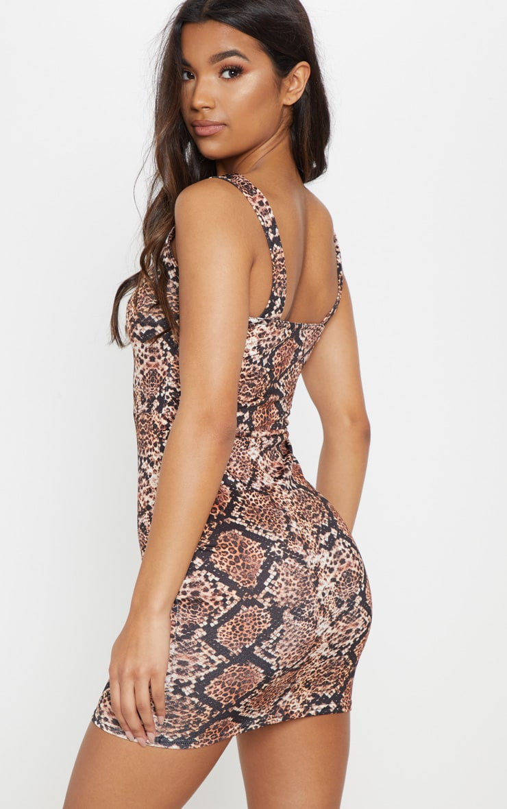 Brown Snake Tortoise Shell Button Front Bodycon Dress 2