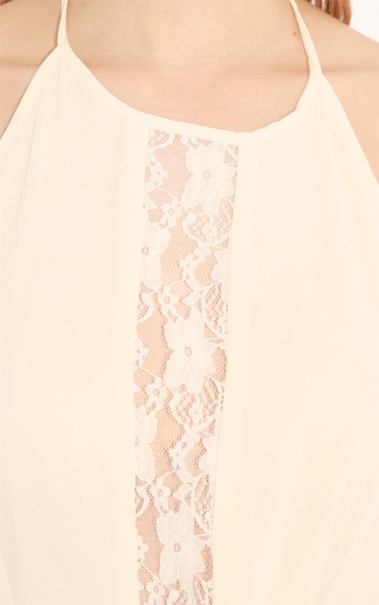 Lisa-Ann Cream Lace Panel Halterneck Dress 5