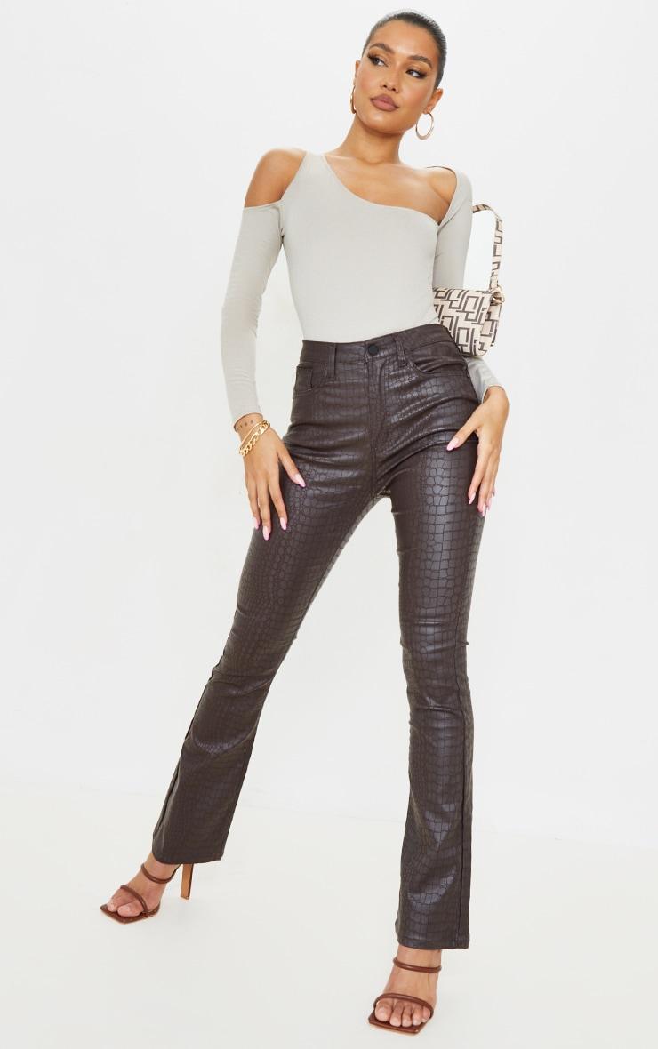 Stone Slinky Asymmetric Neck Long Sleeve Bodysuit 3