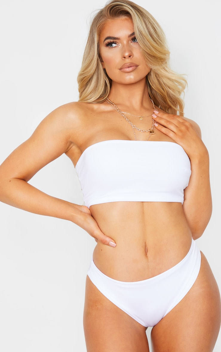 White Mix & Match Longline Bandeau Bikini Top 4