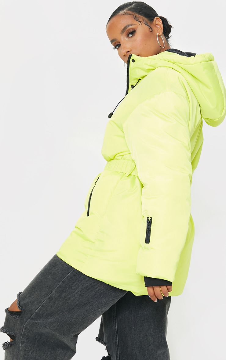 Yellow Quilted Belted Cuffed Sleeve Puffer Coat. 2
