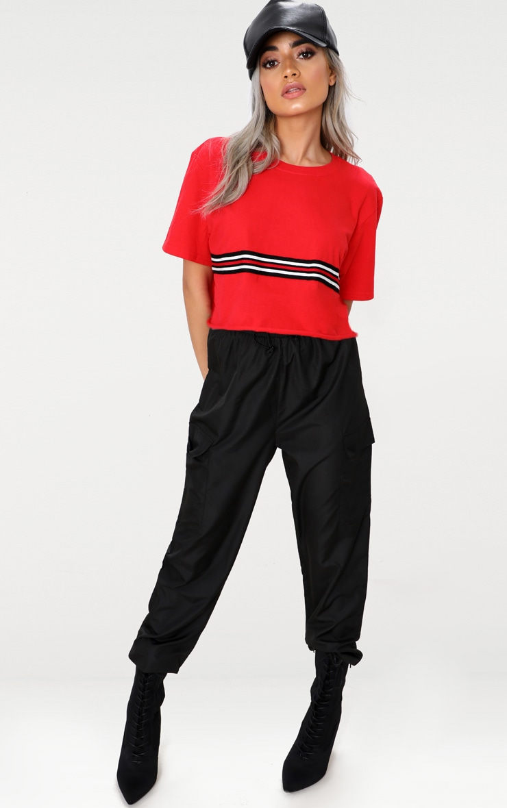 Red Sporty Tape Crop T Shirt  4