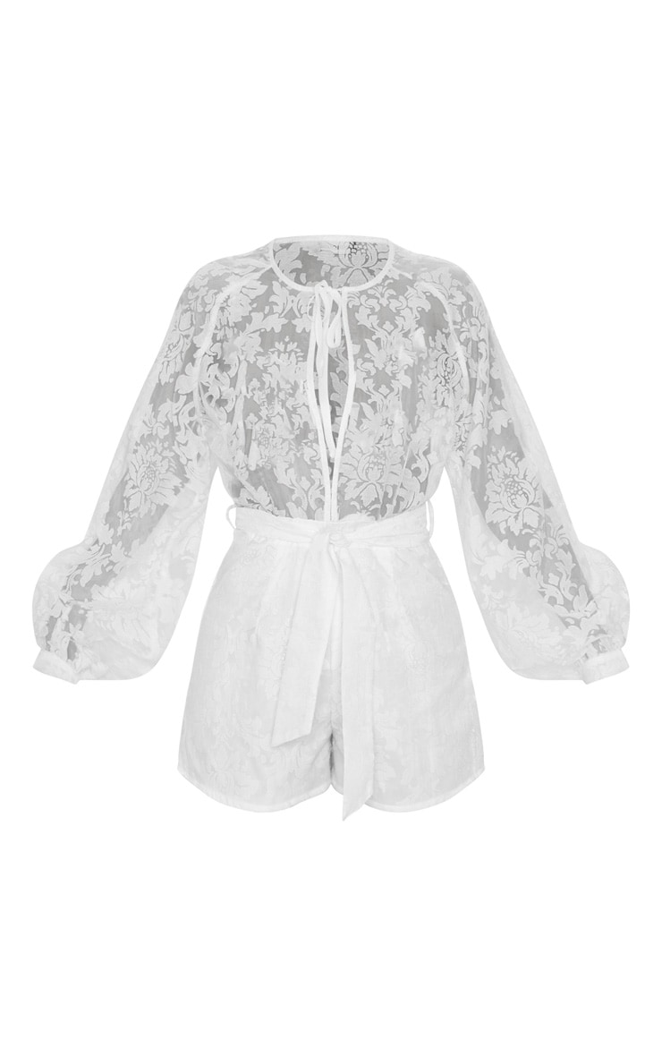 White Delicate Lace Long Sleeve Tie Neck Playsuit 4
