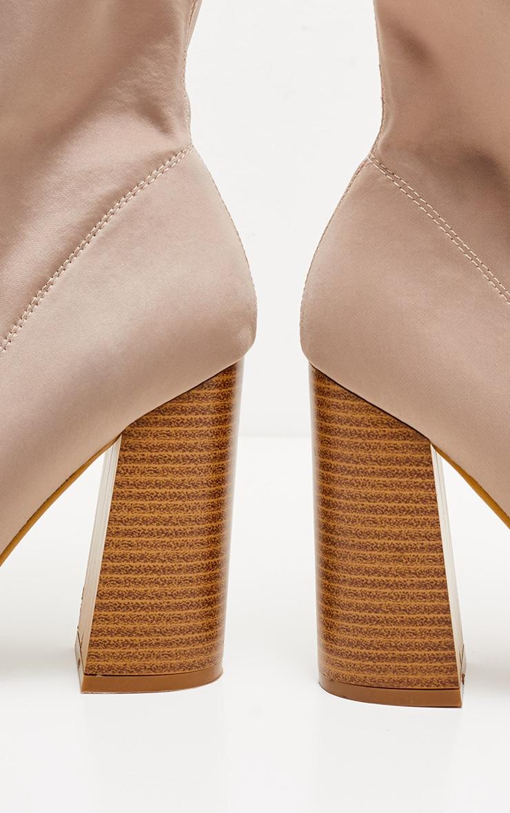 Beige Block Heel Lace Up Lycra Sock Boot 4