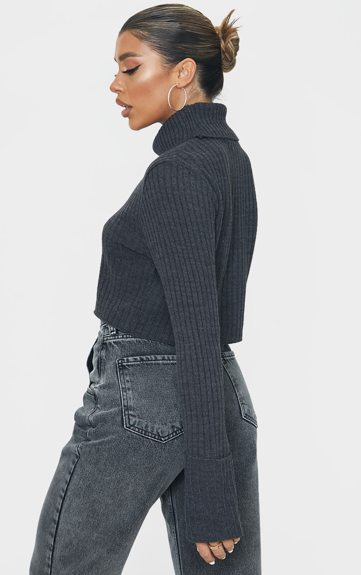 Charcoal Roll Neck Turn Back Sleeve Cropped Sweater 2