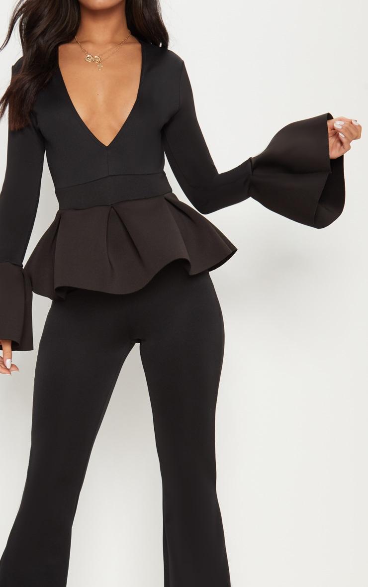Black Frill Sleeve Peplum Jumpsuit 5