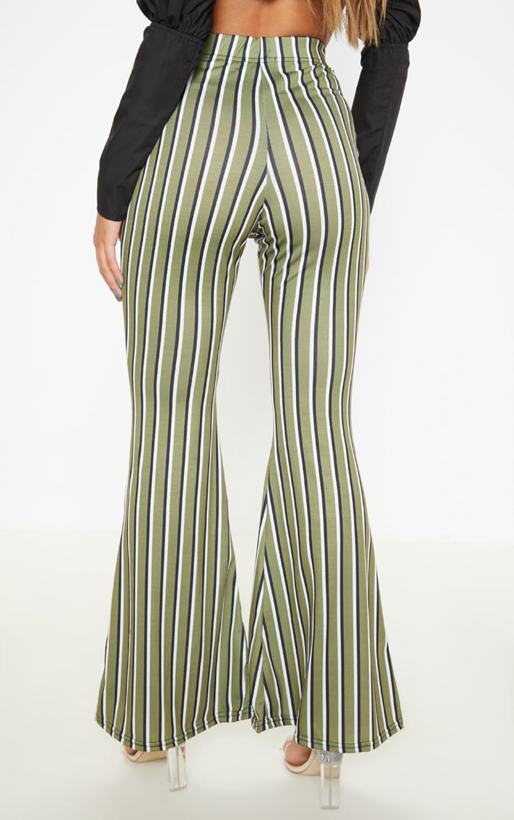 Khaki Jersey Vertical Stripe Flared Trousers 4