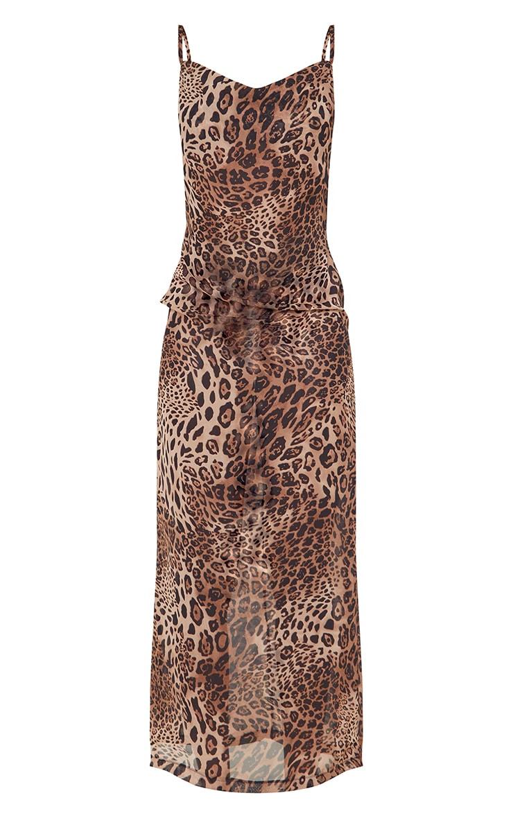 Tall - Robe longue en mesh imprimé léopard marron à col bénitier et bretelles 5