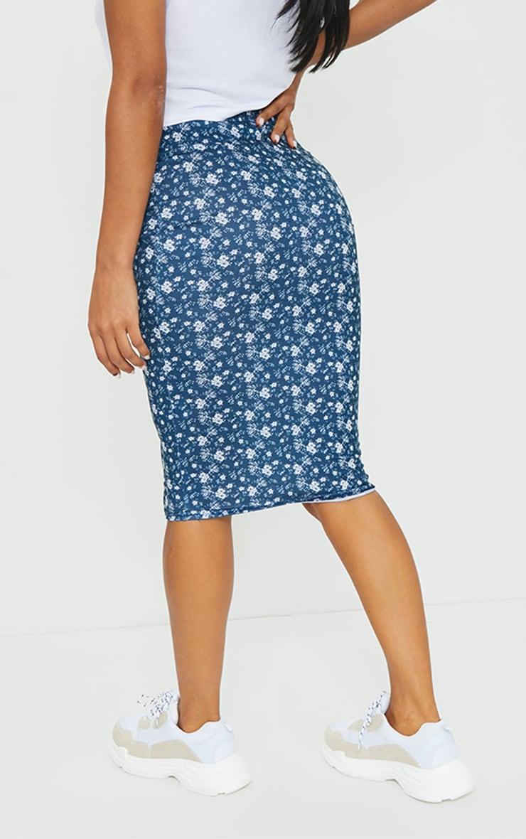 Navy Ditsy Floral Midi Skirt 3