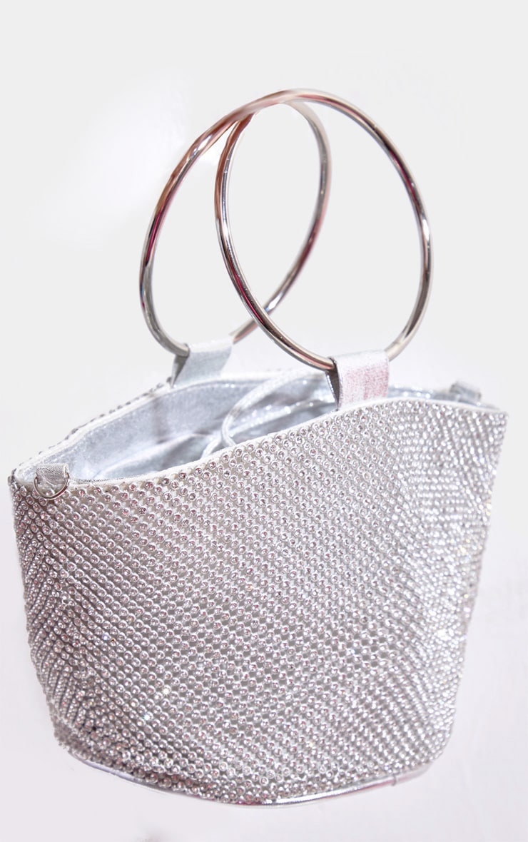 Silver Diamante Bucket Bag 2