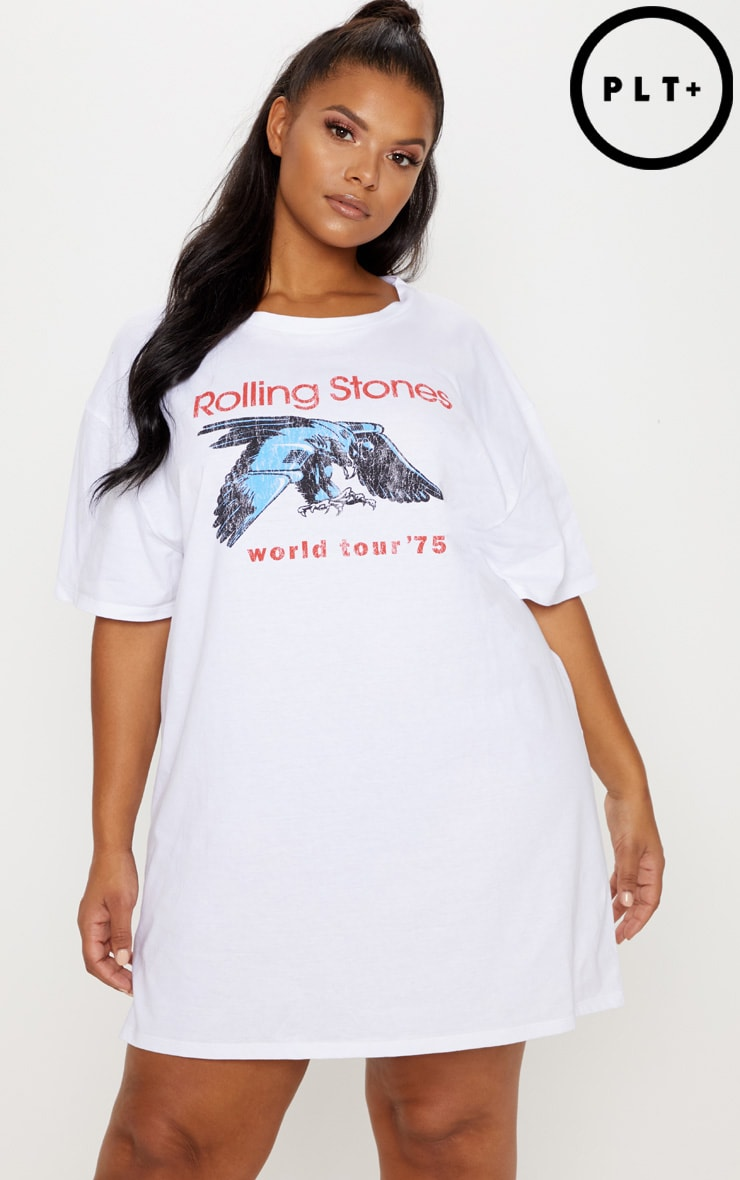 Plus White The Rolling Stones '75 Oversized Boyfriend T-Shirt Dress