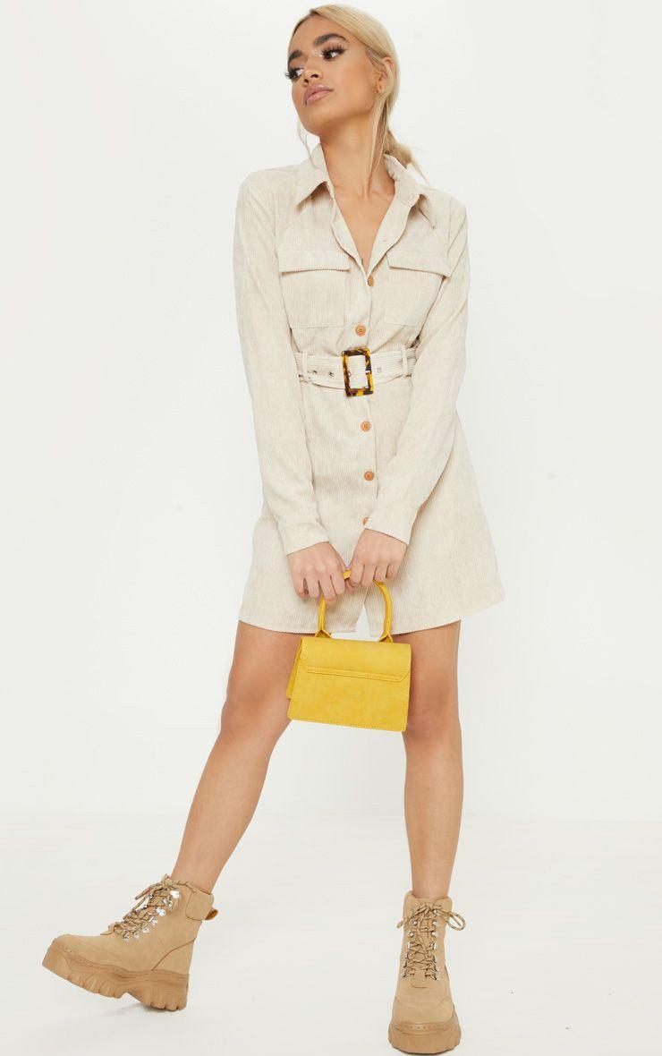 Petite Ecru Cord Belted Shirt Dress 1