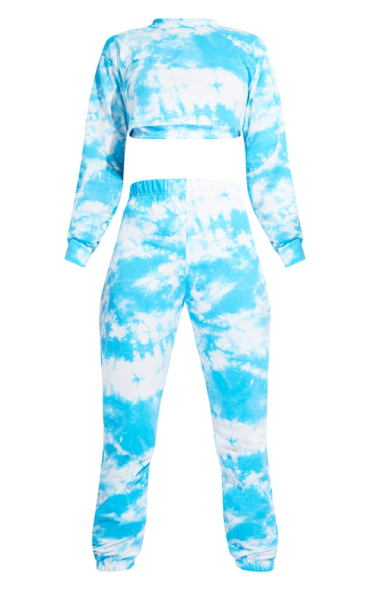 Tall Blue Tie Dye Cropped Sweat and Jogger Set 5