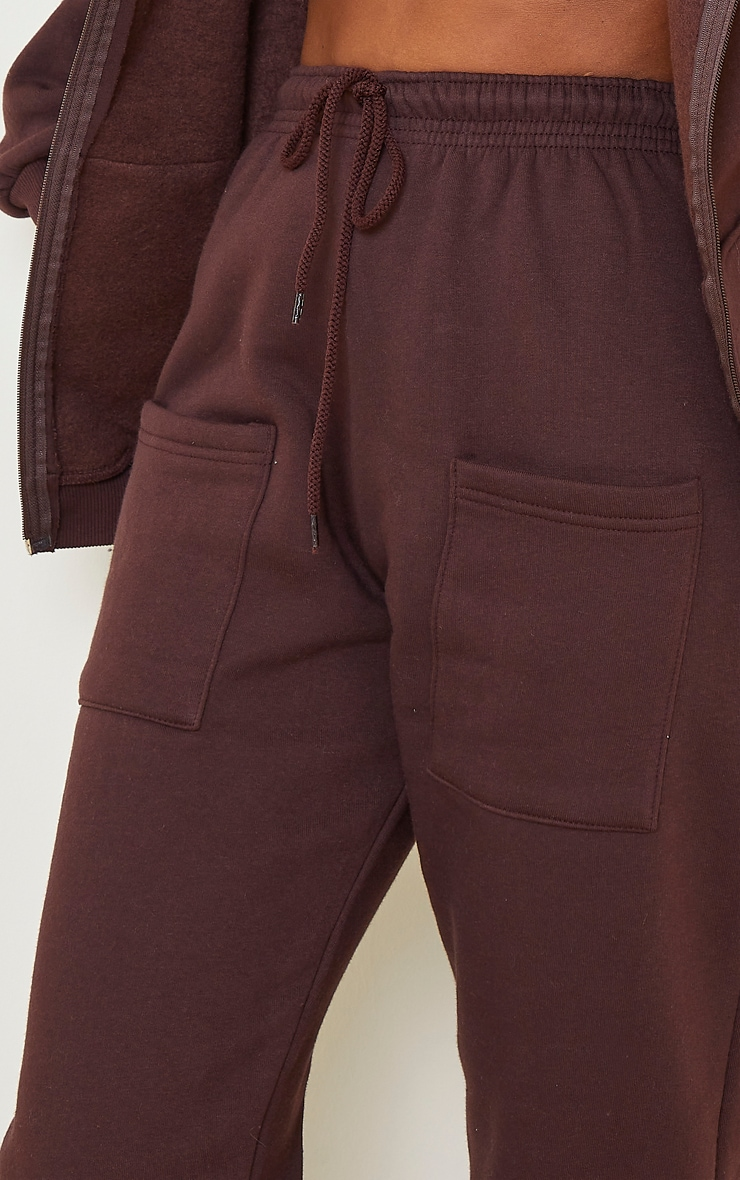 Chocolate Brown Pocket Thigh Casual Joggers 4