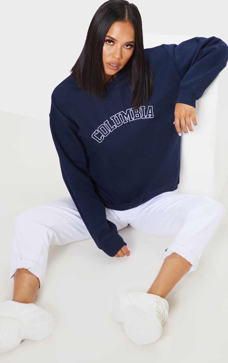Navy Columbia Embroidered Oversized Sweater 1