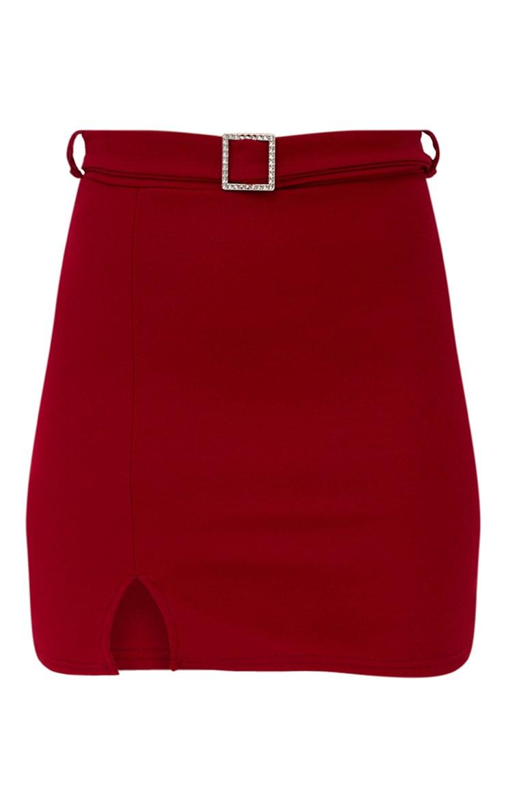 Burgundy Belted Split Mini Skirt 3